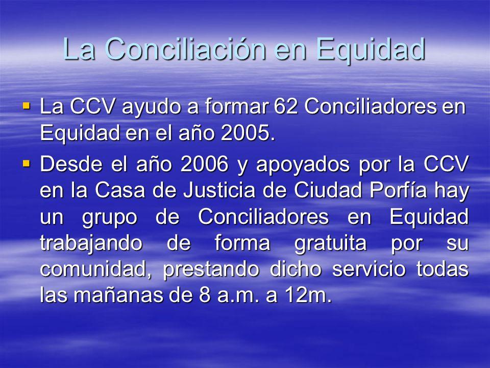 La Conciliación en Equidad La CCV ayudo a formar 62 Conciliadores en Equidad en el año 2005.