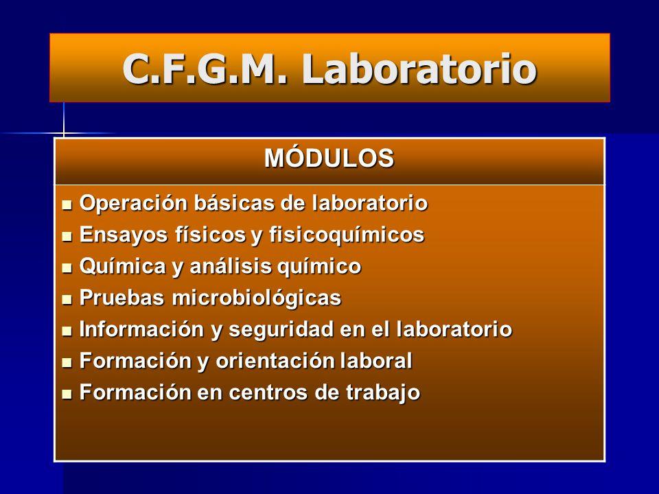 Ciclos Formativos de FP en nuestro centro (GM)CiclosDURACIÓN Laboratorio de Química 2 CURSOS 1 grupo de mañana Cuidados Auxiliares de Enfermería Emerg