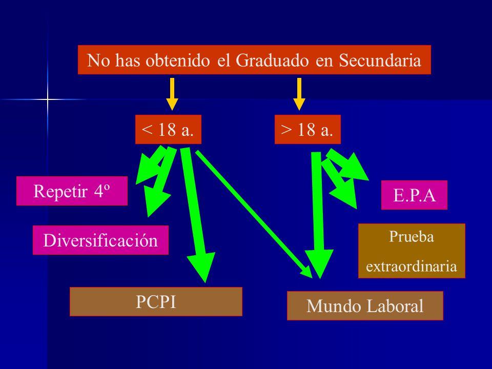 No quieres estudiar Bachillerato Mundo Laboral (HOY ALTA TASA DE PARO) > 18 a.< 18 a. Has obtenido el Graduado en Secundaria Ciclos formativos de FP G