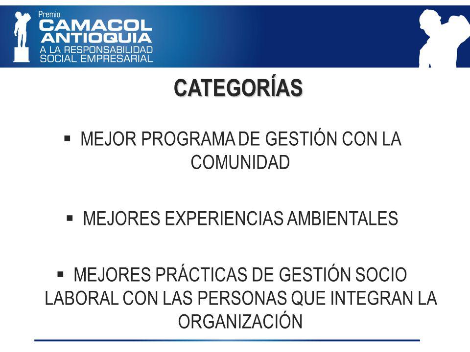 CATEGORÍAS MEJOR PROGRAMA DE GESTIÓN CON LA COMUNIDAD MEJORES EXPERIENCIAS AMBIENTALES MEJORES PRÁCTICAS DE GESTIÓN SOCIO LABORAL CON LAS PERSONAS QUE INTEGRAN LA ORGANIZACIÓN