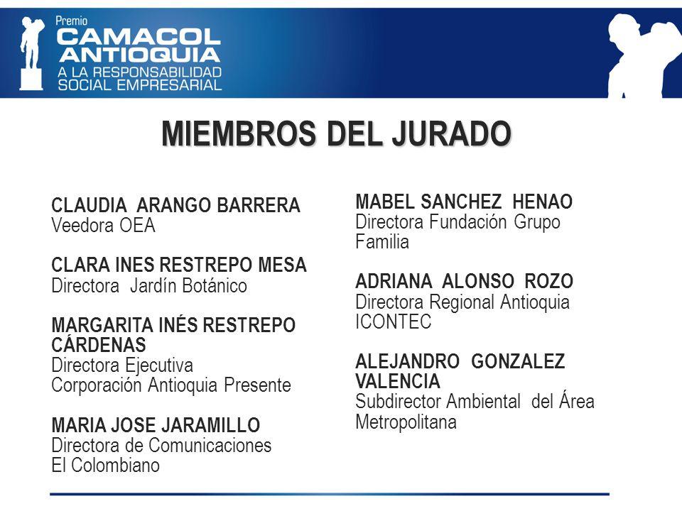 MIEMBROS DEL JURADO CLAUDIA ARANGO BARRERA Veedora OEA CLARA INES RESTREPO MESA Directora Jardín Botánico MARGARITA INÉS RESTREPO CÁRDENAS Directora Ejecutiva Corporación Antioquia Presente MARIA JOSE JARAMILLO Directora de Comunicaciones El Colombiano MABEL SANCHEZ HENAO Directora Fundación Grupo Familia ADRIANA ALONSO ROZO Directora Regional Antioquia ICONTEC ALEJANDRO GONZALEZ VALENCIA Subdirector Ambiental del Área Metropolitana
