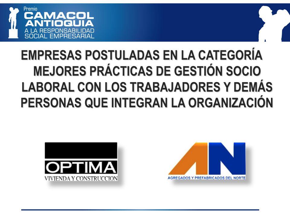 EMPRESAS POSTULADAS EN LA CATEGORÍA MEJORES PRÁCTICAS DE GESTIÓN SOCIO LABORAL CON LOS TRABAJADORES Y DEMÁS PERSONAS QUE INTEGRAN LA ORGANIZACIÓN