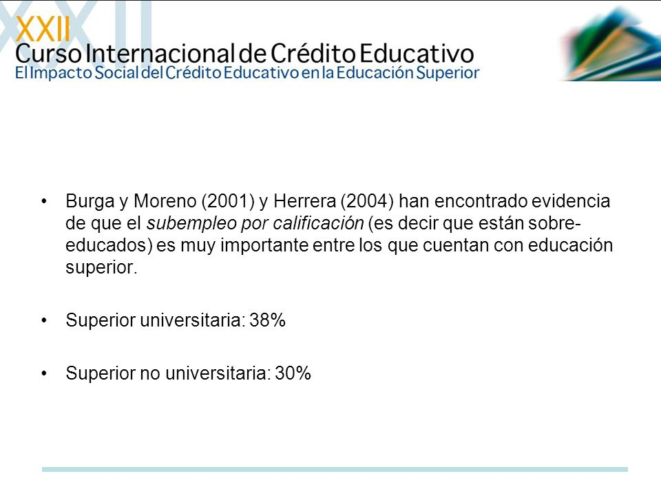 Burga y Moreno (2001) y Herrera (2004) han encontrado evidencia de que el subempleo por calificación (es decir que están sobre- educados) es muy impor