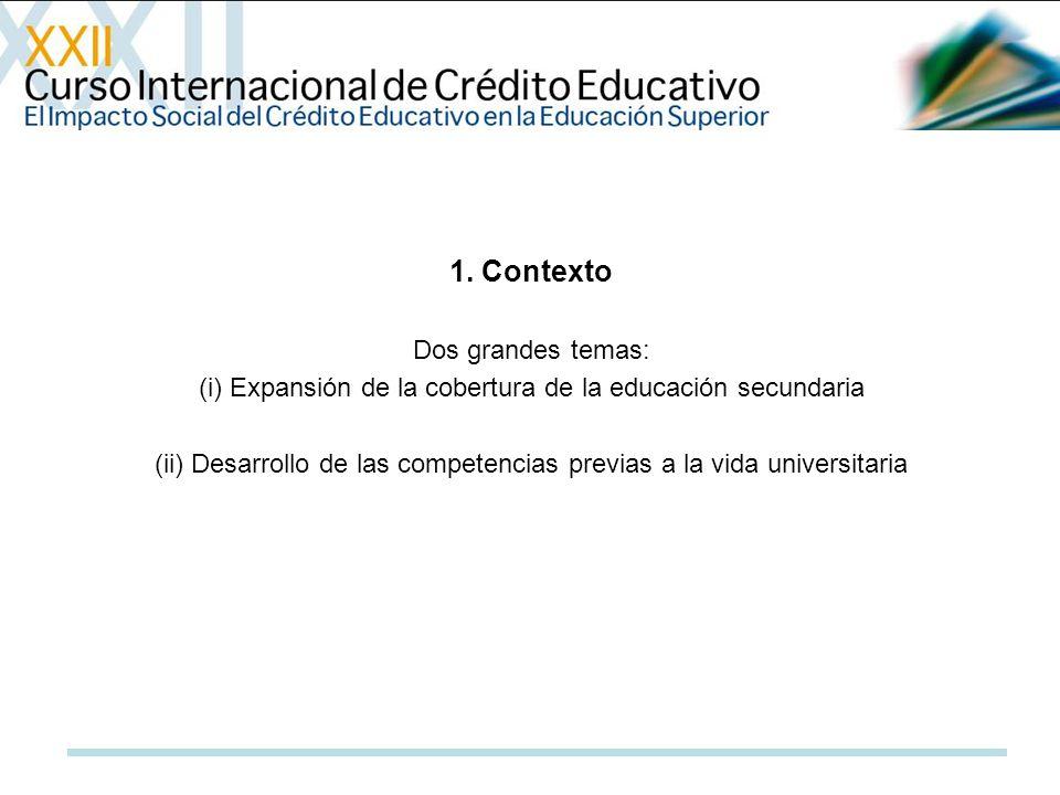 1. Contexto Dos grandes temas: (i) Expansión de la cobertura de la educación secundaria (ii) Desarrollo de las competencias previas a la vida universi