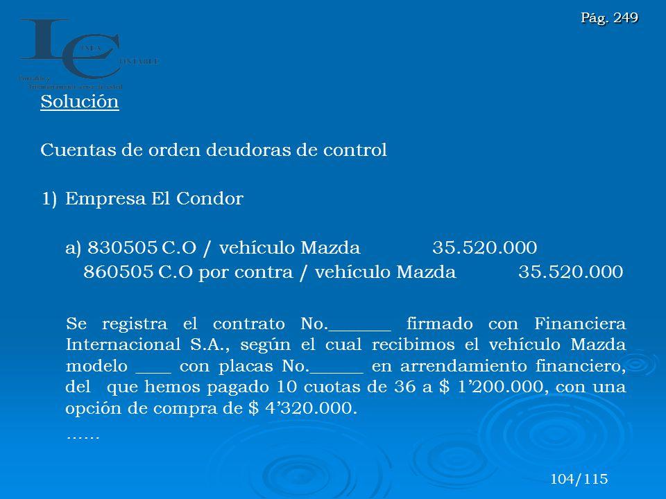 Solución Cuentas de orden deudoras de control 1)Empresa El Condor a) 830505 C.O / vehículo Mazda 35.520.000 860505 C.O por contra / vehículo Mazda 35.