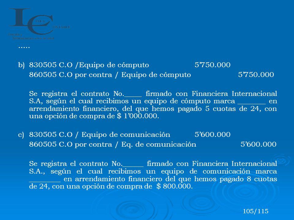 ….. b)830505 C.O /Equipo de cómputo 5750.000 860505 C.O por contra / Equipo de cómputo 5750.000 Se registra el contrato No._____ firmado con Financier