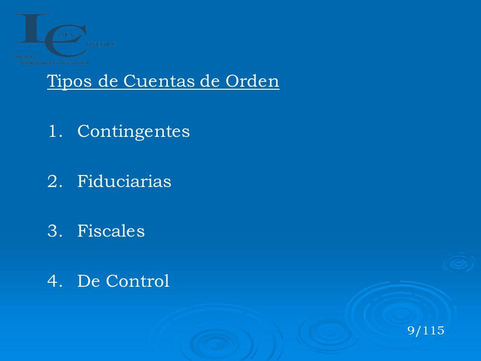 Tipos de Cuentas de Orden 1.Contingentes 2.Fiduciarias 3.Fiscales 4.De Control 9/115