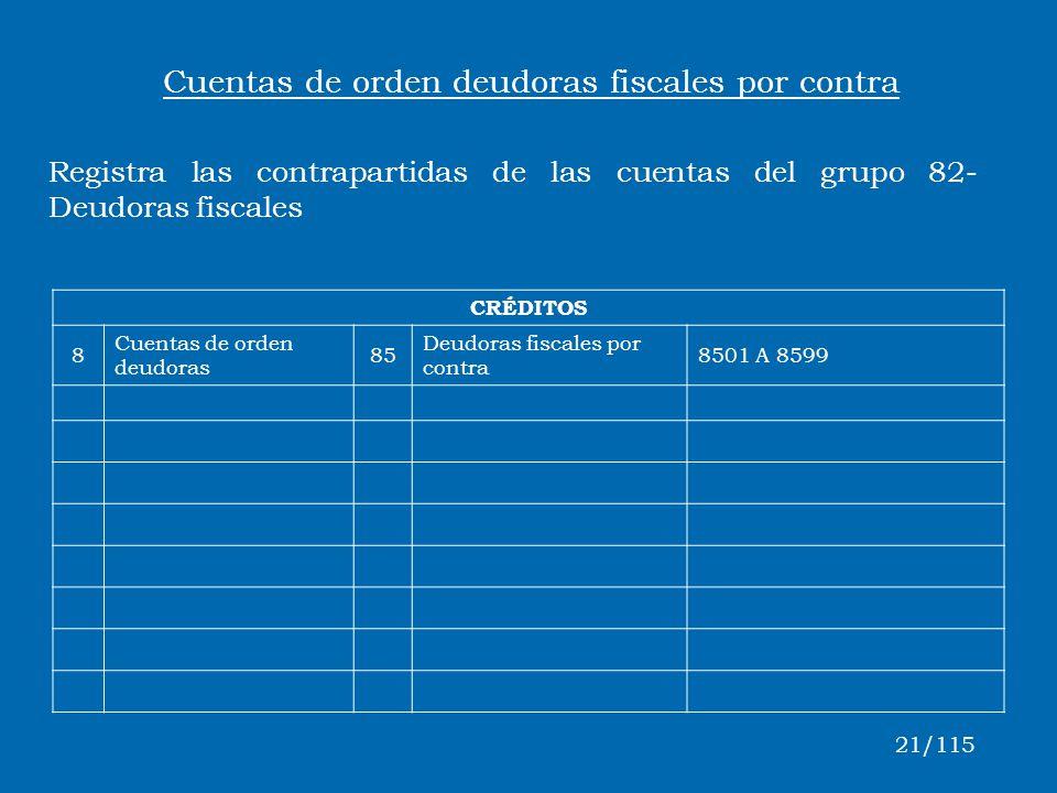 CRÉDITOS 8 Cuentas de orden deudoras 85 Deudoras fiscales por contra 8501 A 8599 Cuentas de orden deudoras fiscales por contra Registra las contrapart