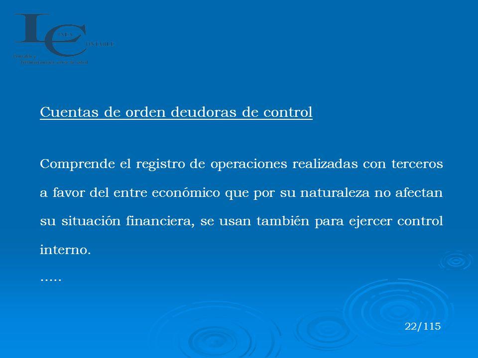 Cuentas de orden deudoras de control Comprende el registro de operaciones realizadas con terceros a favor del entre económico que por su naturaleza no
