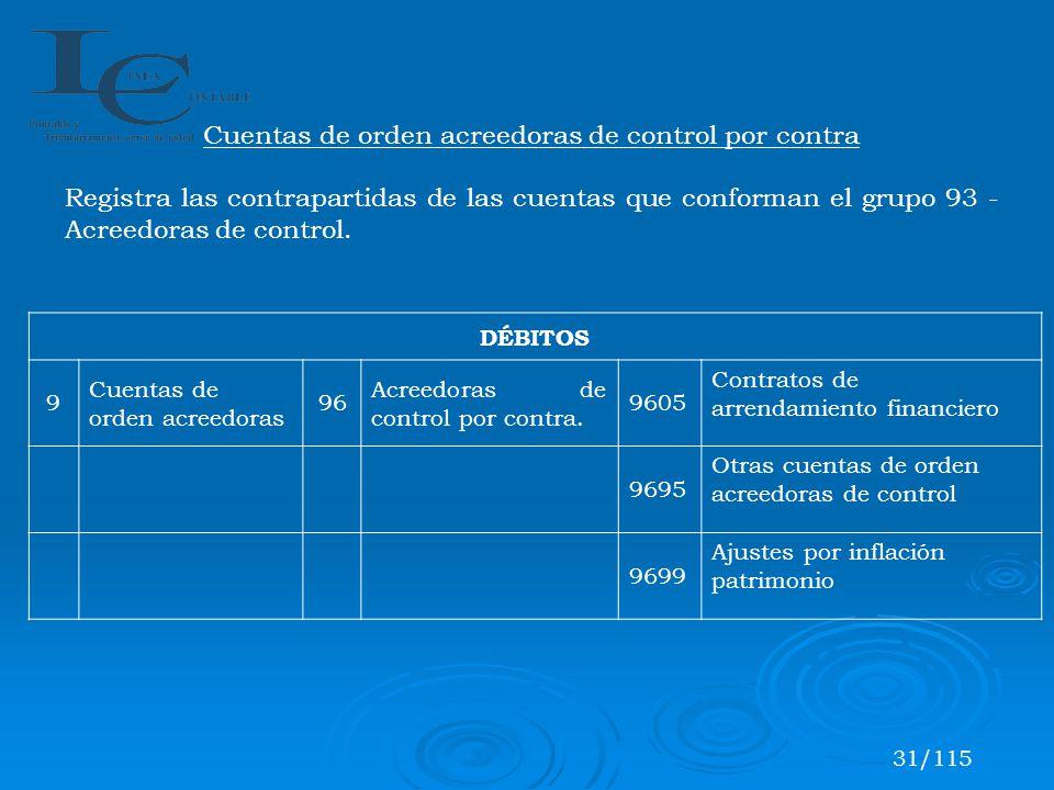 DÉBITOS 9 Cuentas de orden acreedoras 96 Acreedoras de control por contra. 9605 Contratos de arrendamiento financiero 9695 Otras cuentas de orden acre