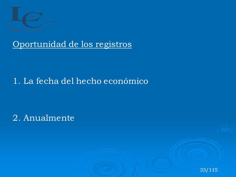 Oportunidad de los registros 1. La fecha del hecho económico 2. Anualmente 33/115
