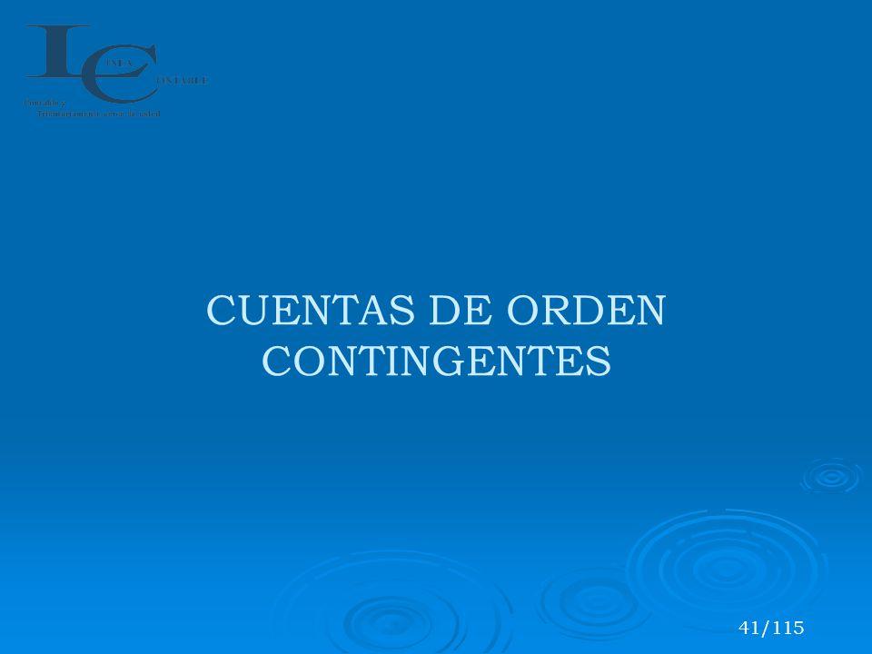 CUENTAS DE ORDEN CONTINGENTES 41/115