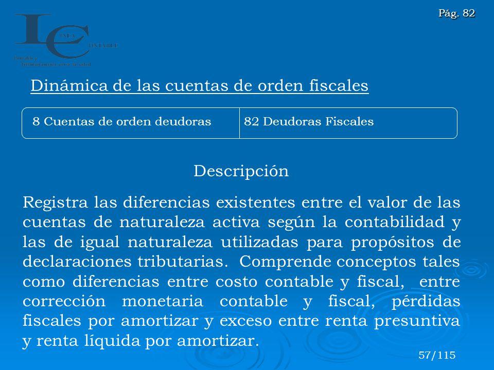 Descripción Registra las diferencias existentes entre el valor de las cuentas de naturaleza activa según la contabilidad y las de igual naturaleza uti