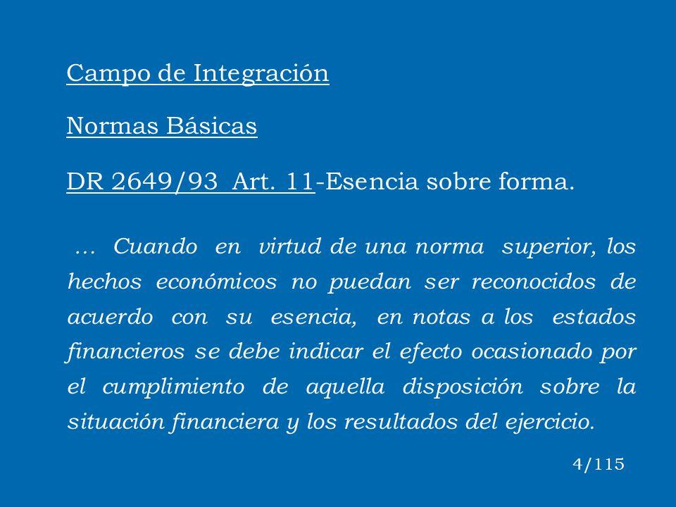 Campo de Integración Normas Básicas DR 2649/93 Art. 11-Esencia sobre forma. … Cuando en virtud de una norma superior, los hechos económicos no puedan