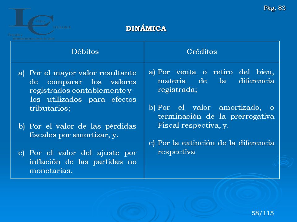 DébitosCréditos a)Por el mayor valor resultante de comparar los valores registrados contablemente y los utilizados para efectos tributarios; b)Por el