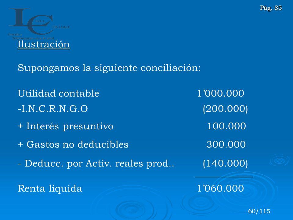 Ilustración Supongamos la siguiente conciliación: Utilidad contable 1000.000 -I.N.C.R.N.G.O (200.000) + Interés presuntivo 100.000 + Gastos no deducib