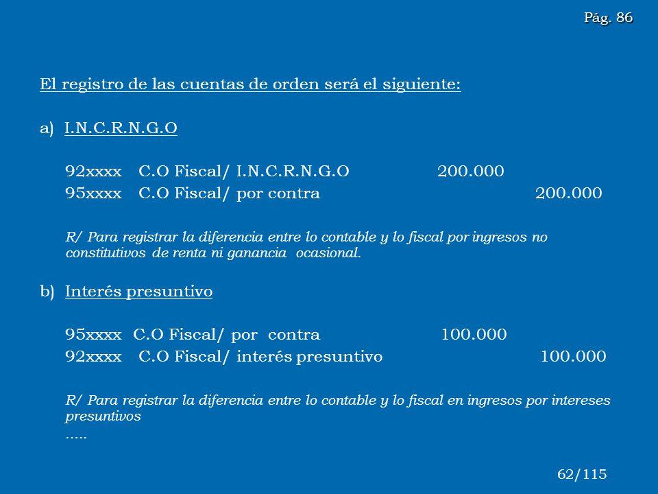 El registro de las cuentas de orden será el siguiente: a) I.N.C.R.N.G.O 92xxxx C.O Fiscal/ I.N.C.R.N.G.O 200.000 95xxxx C.O Fiscal/ por contra 200.000