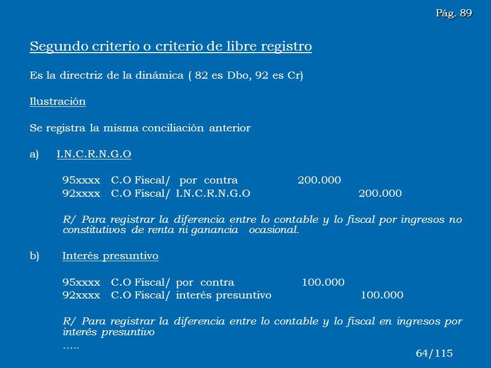 Segundo criterio o criterio de libre registro Es la directriz de la dinámica ( 82 es Dbo, 92 es Cr) Ilustración Se registra la misma conciliación ante