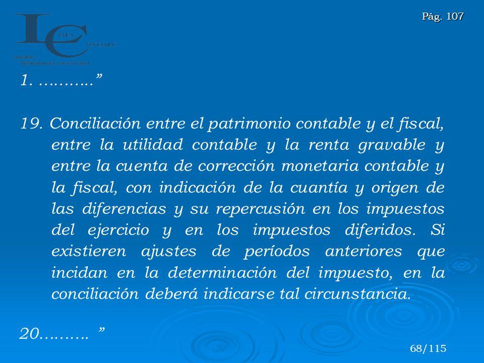 1. ……….. 19. Conciliación entre el patrimonio contable y el fiscal, entre la utilidad contable y la renta gravable y entre la cuenta de corrección mon