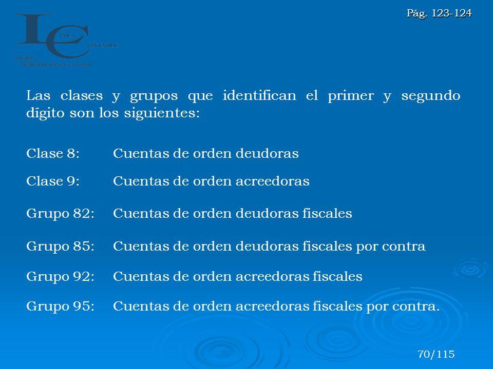 Las clases y grupos que identifican el primer y segundo dígito son los siguientes: Clase 8:Cuentas de orden deudoras Clase 9:Cuentas de orden acreedor