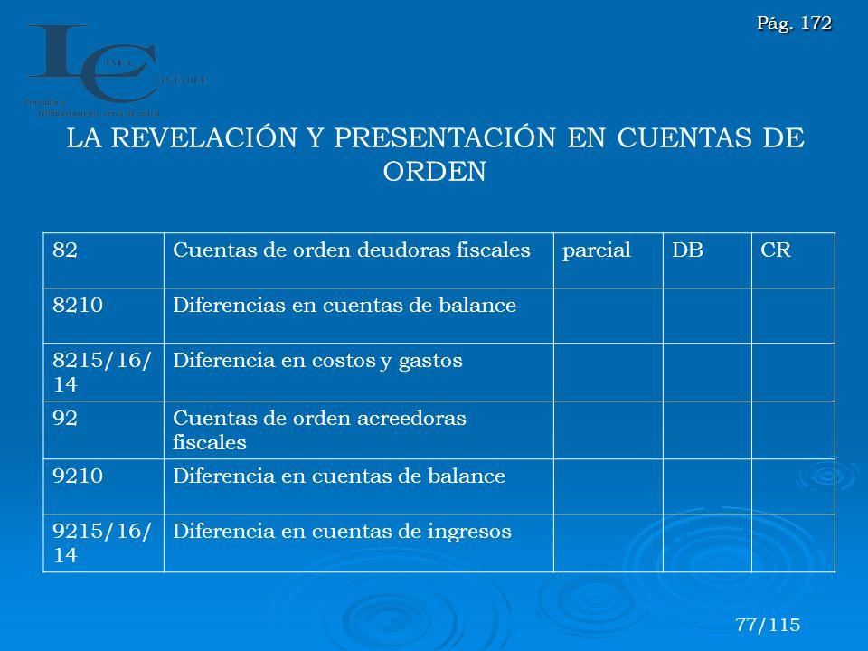 LA REVELACIÓN Y PRESENTACIÓN EN CUENTAS DE ORDEN 82Cuentas de orden deudoras fiscalesparcialDBCR 8210Diferencias en cuentas de balance 8215/16/ 14 Dif