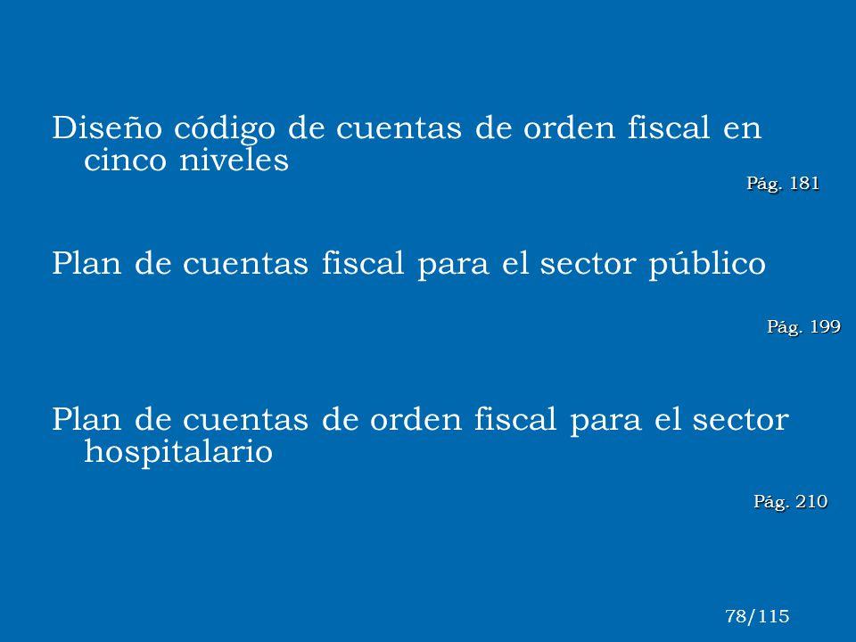 Pág. 210 Diseño código de cuentas de orden fiscal en cinco niveles Plan de cuentas fiscal para el sector público Plan de cuentas de orden fiscal para