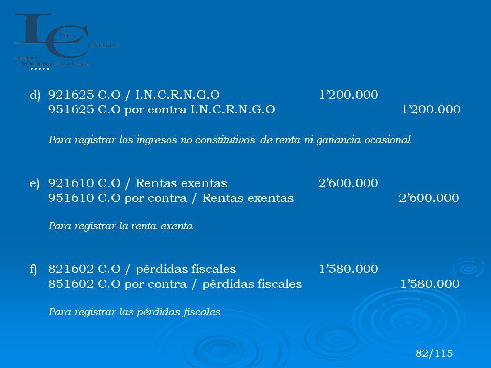 ….. d)921625 C.O / I.N.C.R.N.G.O 1200.000 951625 C.O por contra I.N.C.R.N.G.O 1200.000 Para registrar los ingresos no constitutivos de renta ni gananc