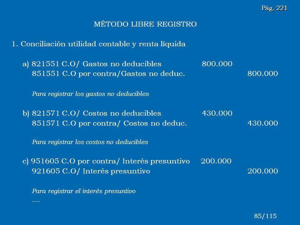 MÉTODO LIBRE REGISTRO 1. Conciliación utilidad contable y renta líquida a) 821551 C.O/ Gastos no deducibles 800.000 851551 C.O por contra/Gastos no de
