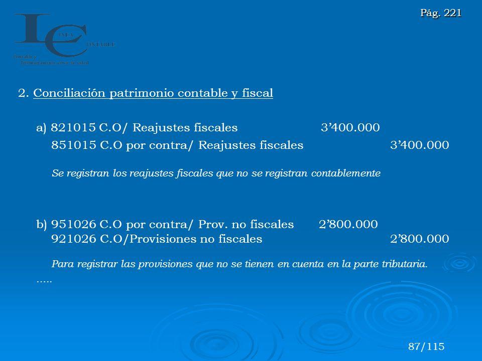 2. Conciliación patrimonio contable y fiscal a) 821015 C.O/ Reajustes fiscales 3400.000 851015 C.O por contra/ Reajustes fiscales 3400.000 Se registra
