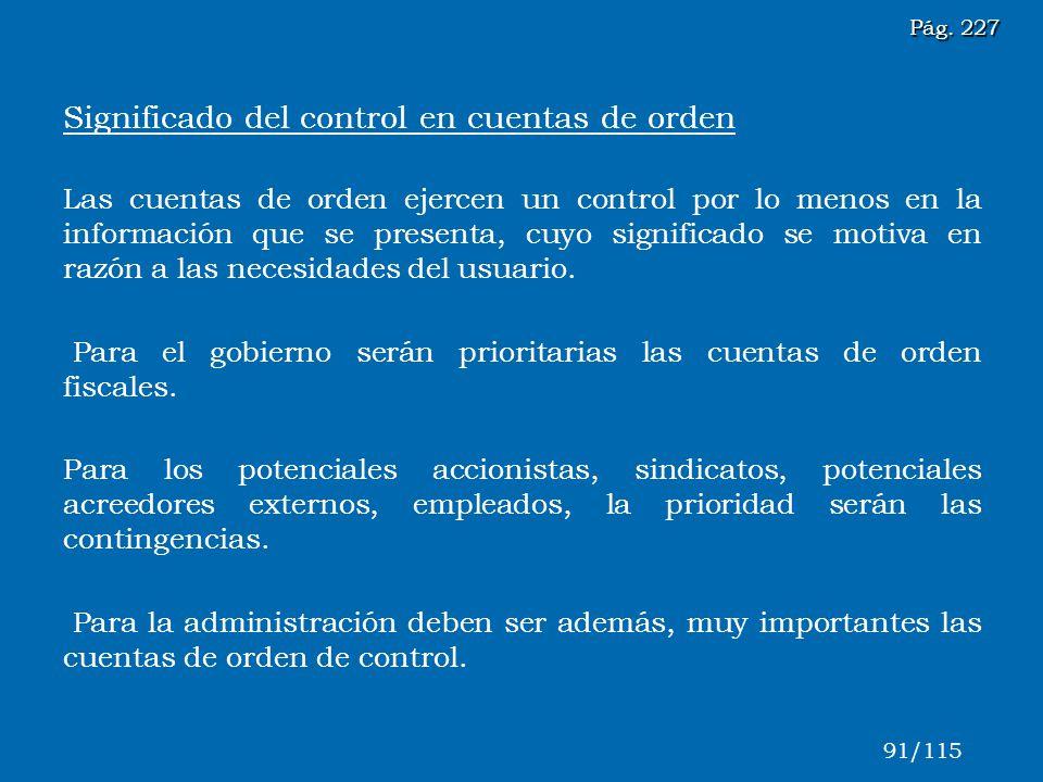 Significado del control en cuentas de orden Las cuentas de orden ejercen un control por lo menos en la información que se presenta, cuyo significado s