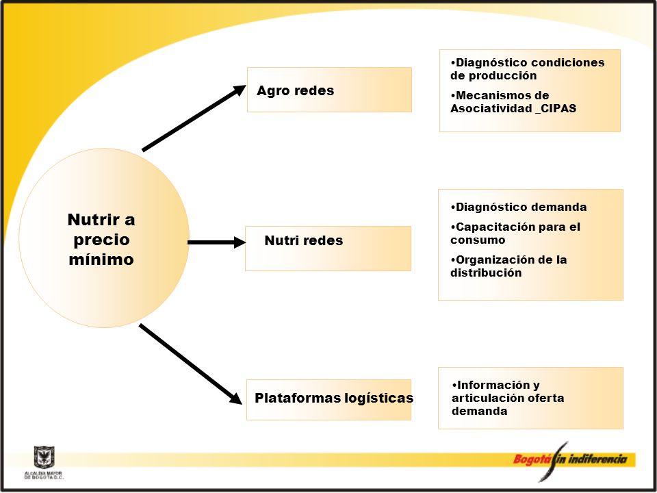 Agro redes Diagnóstico condiciones de producción Mecanismos de Asociatividad _CIPAS Diagnóstico demanda Capacitación para el consumo Organización de la distribución Nutrir a precio mínimo Nutri redes Información y articulación oferta demanda Plataformas logísticas