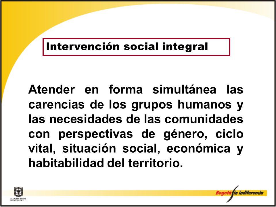 Atender en forma simultánea las carencias de los grupos humanos y las necesidades de las comunidades con perspectivas de género, ciclo vital, situación social, económica y habitabilidad del territorio.