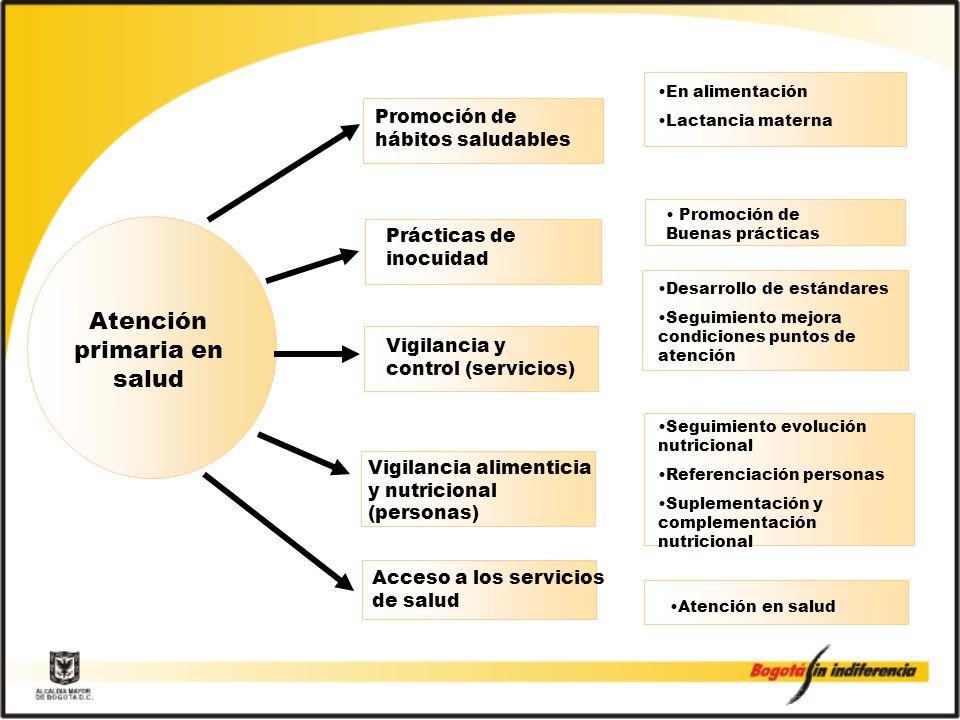 Promoción de hábitos saludables En alimentación Lactancia materna Desarrollo de estándares Seguimiento mejora condiciones puntos de atención Seguimiento evolución nutricional Referenciación personas Suplementación y complementación nutricional Atención primaria en salud Prácticas de inocuidad Vigilancia y control (servicios) Promoción de Buenas prácticas Atención en salud Vigilancia alimenticia y nutricional (personas) Acceso a los servicios de salud
