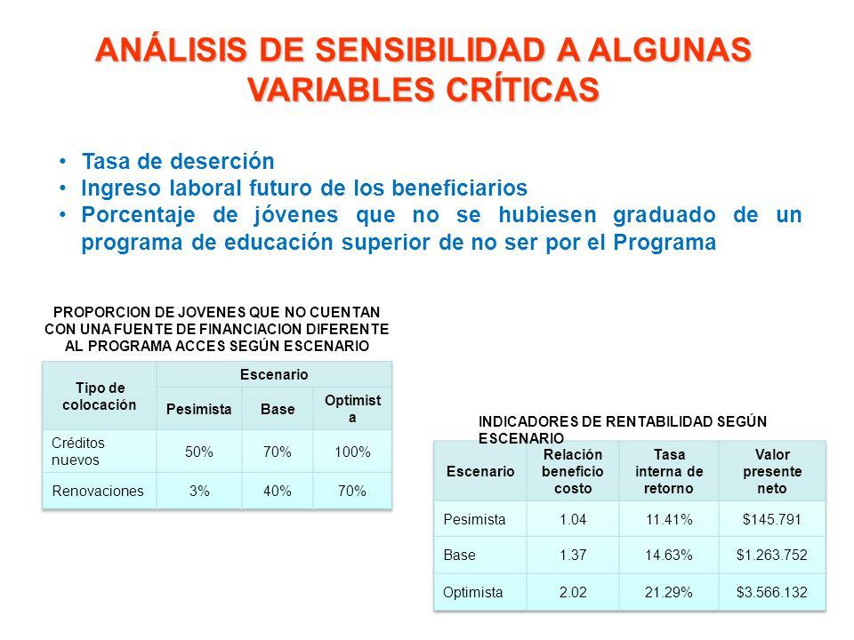 ANÁLISIS DE SENSIBILIDAD A ALGUNAS VARIABLES CRÍTICAS Tasa de deserción Ingreso laboral futuro de los beneficiarios Porcentaje de jóvenes que no se hu