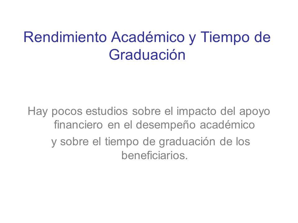 Rendimiento Académico y Tiempo de Graduación Hay pocos estudios sobre el impacto del apoyo financiero en el desempeño académico y sobre el tiempo de g