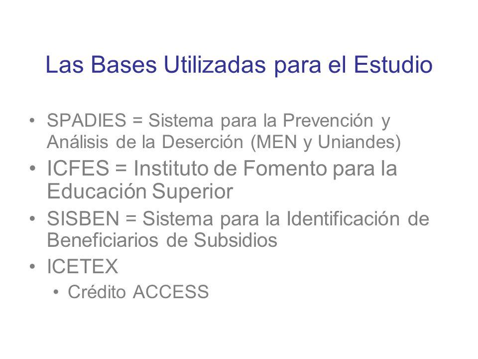 Las Bases Utilizadas para el Estudio SPADIES = Sistema para la Prevención y Análisis de la Deserción (MEN y Uniandes) ICFES = Instituto de Fomento par