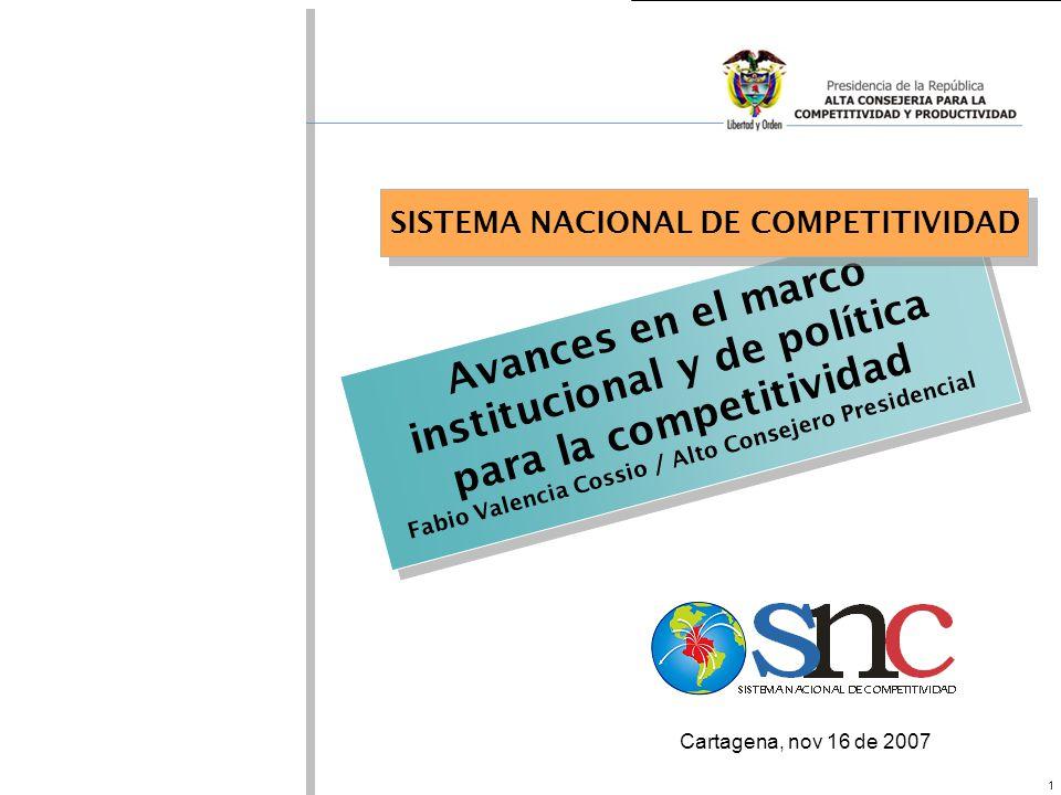 1 Avances en el marco institucional y de política para la competitividad Fabio Valencia Cossio / Alto Consejero Presidencial SISTEMA NACIONAL DE COMPE