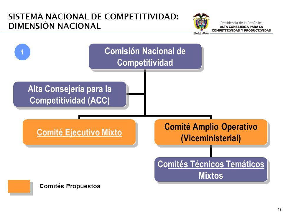 19 1 SISTEMA NACIONAL DE COMPETITIVIDAD: DIMENSIÓN NACIONAL Comités Propuestos
