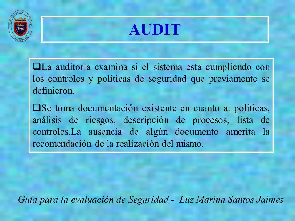 AUDIT Guía para la evaluación de Seguridad - Luz Marina Santos Jaimes La auditoria examina si el sistema esta cumpliendo con los controles y políticas