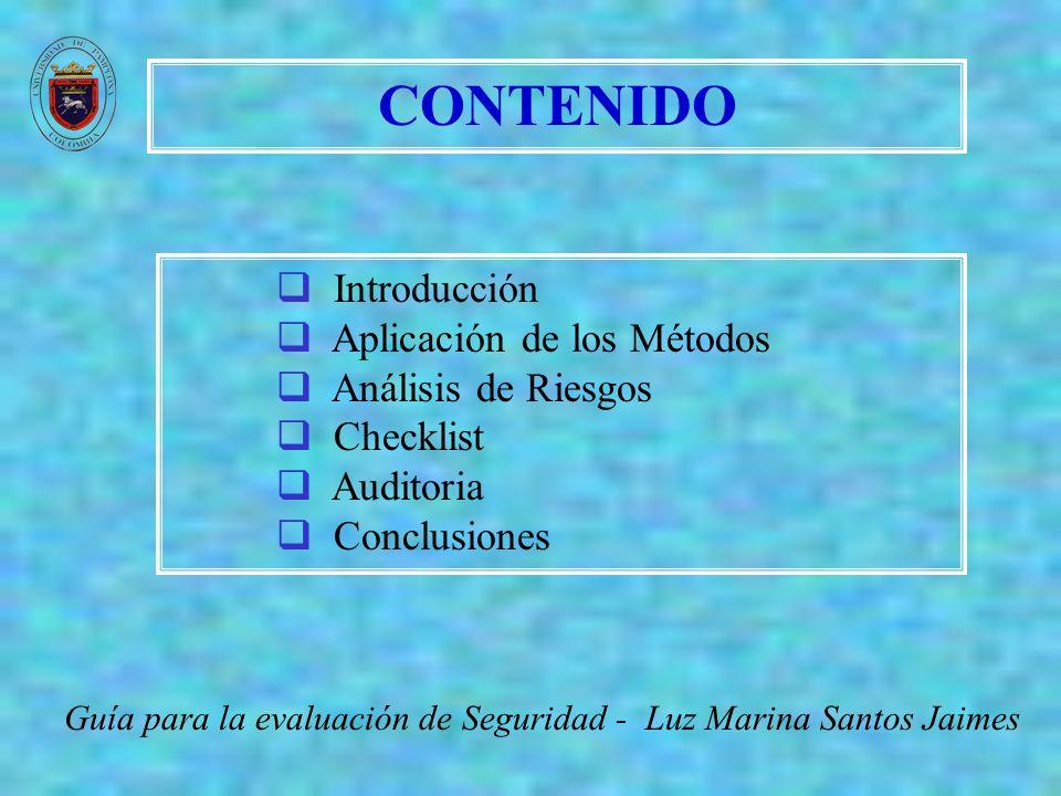 CONTENIDO Guía para la evaluación de Seguridad - Luz Marina Santos Jaimes Introducción Aplicación de los Métodos Análisis de Riesgos Checklist Auditor