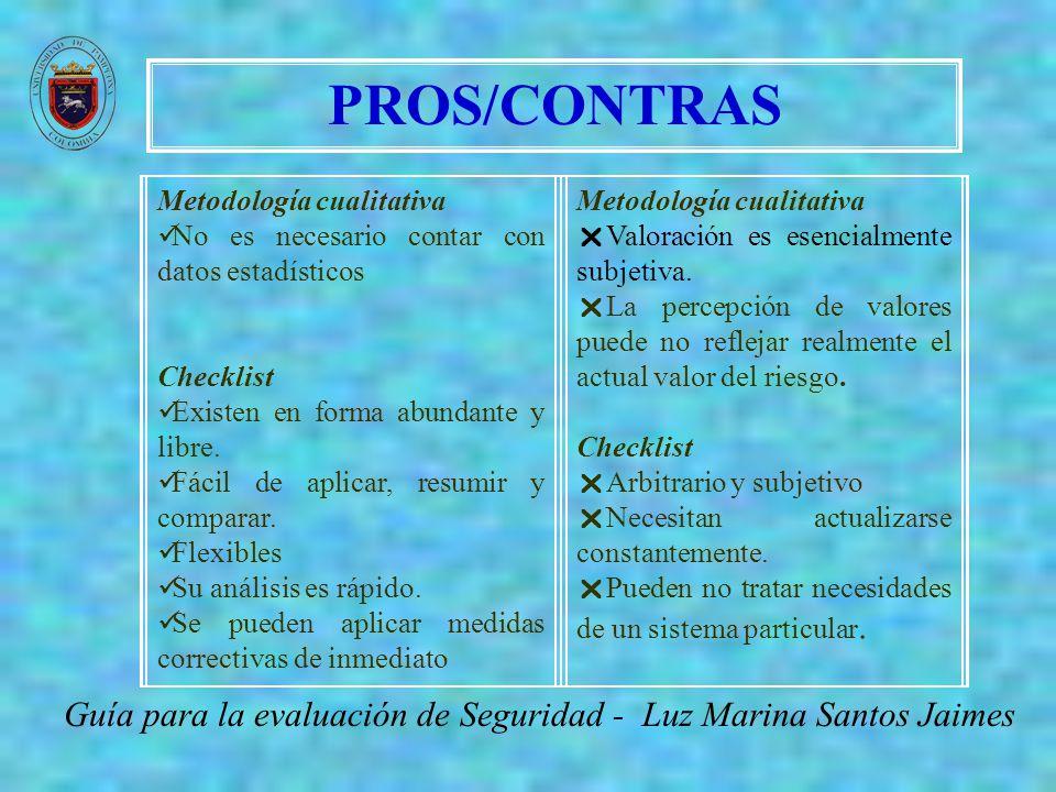 PROS/CONTRAS Guía para la evaluación de Seguridad - Luz Marina Santos Jaimes Metodología cualitativa No es necesario contar con datos estadísticos Che