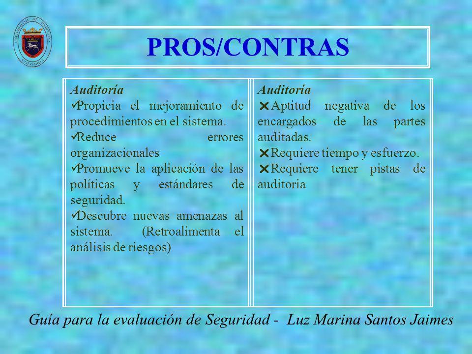 PROS/CONTRAS Guía para la evaluación de Seguridad - Luz Marina Santos Jaimes Auditoría Propicia el mejoramiento de procedimientos en el sistema. Reduc