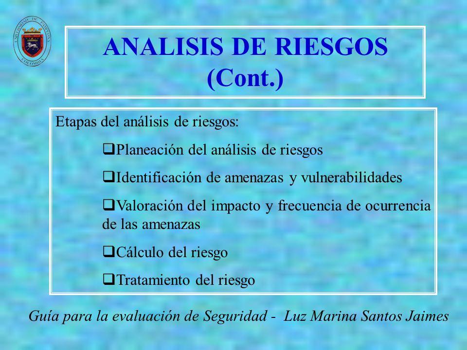 ANALISIS DE RIESGOS (Cont.) Guía para la evaluación de Seguridad - Luz Marina Santos Jaimes RecursoAmenazaVulnerabilidades Recurso 1 Amenaza 1 Vulnerabilidad 1 Vulnerabilidad 2...