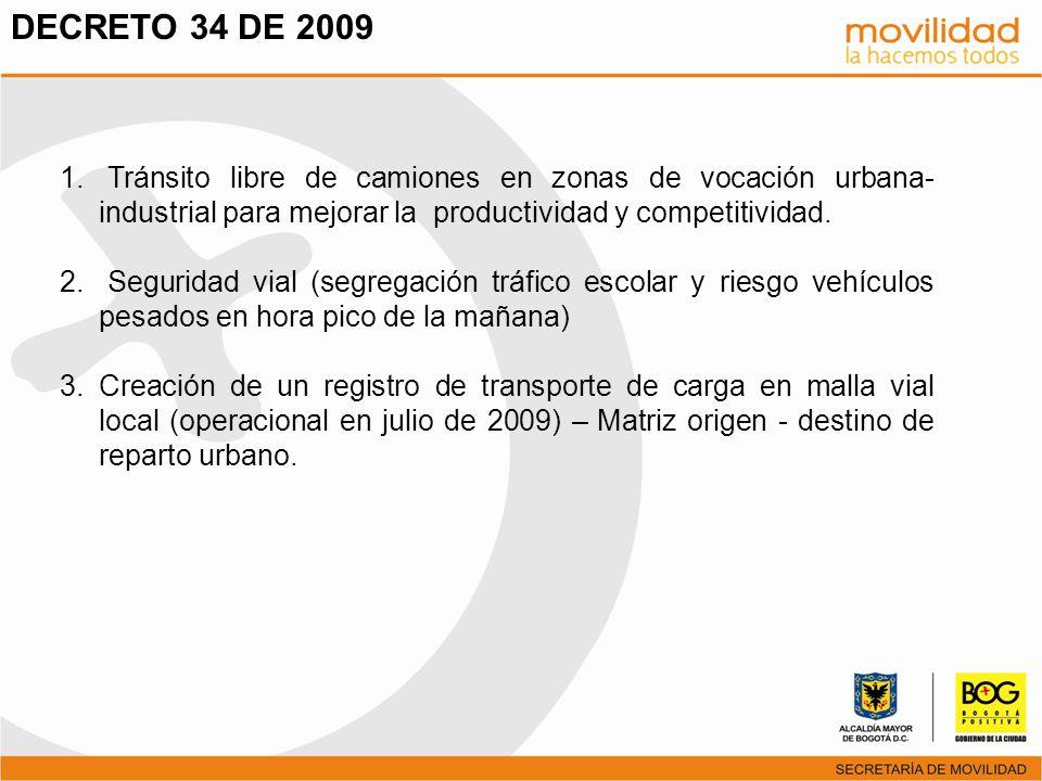 1. Tránsito libre de camiones en zonas de vocación urbana- industrial para mejorar la productividad y competitividad. 2. Seguridad vial (segregación t