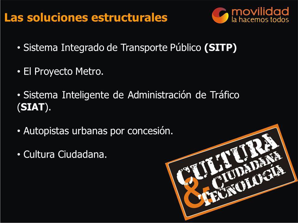 Sistema Integrado de Transporte Público (SITP) El Proyecto Metro. Sistema Inteligente de Administración de Tráfico (SIAT). Autopistas urbanas por conc