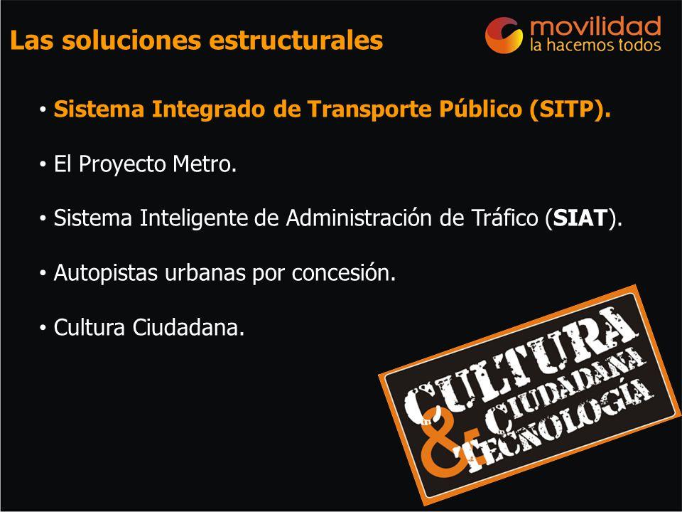 Sistema Integrado de Transporte Público (SITP). El Proyecto Metro. Sistema Inteligente de Administración de Tráfico (SIAT). Autopistas urbanas por con
