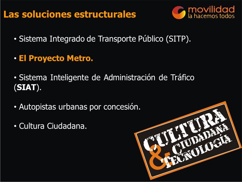 Las soluciones estructurales Sistema Integrado de Transporte Público (SITP). El Proyecto Metro. Sistema Inteligente de Administración de Tráfico (SIAT