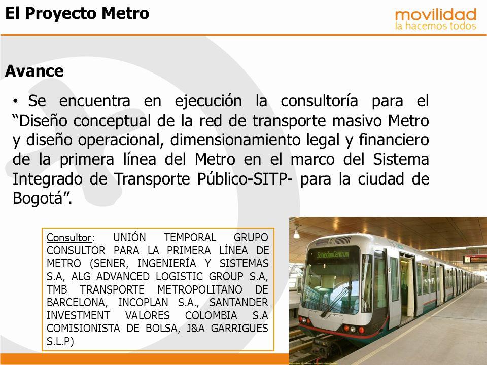 El Proyecto Metro Avance Se encuentra en ejecución la consultoría para elDiseño conceptual de la red de transporte masivo Metro y diseño operacional,