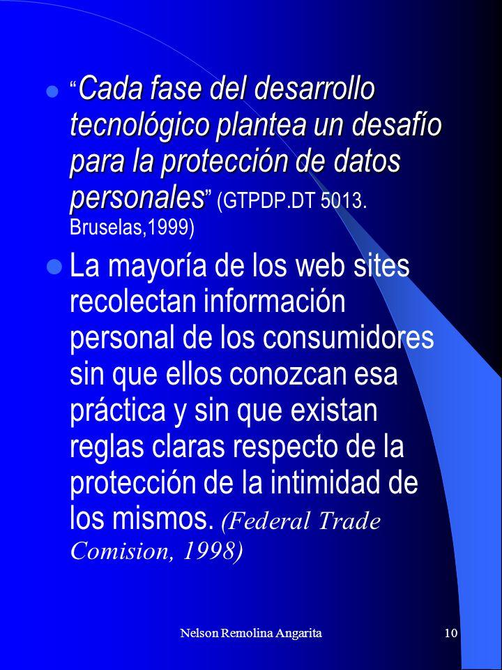 Nelson Remolina Angarita10 Cada fase del desarrollo tecnológico plantea un desafío para la protección de datos personales Cada fase del desarrollo tec