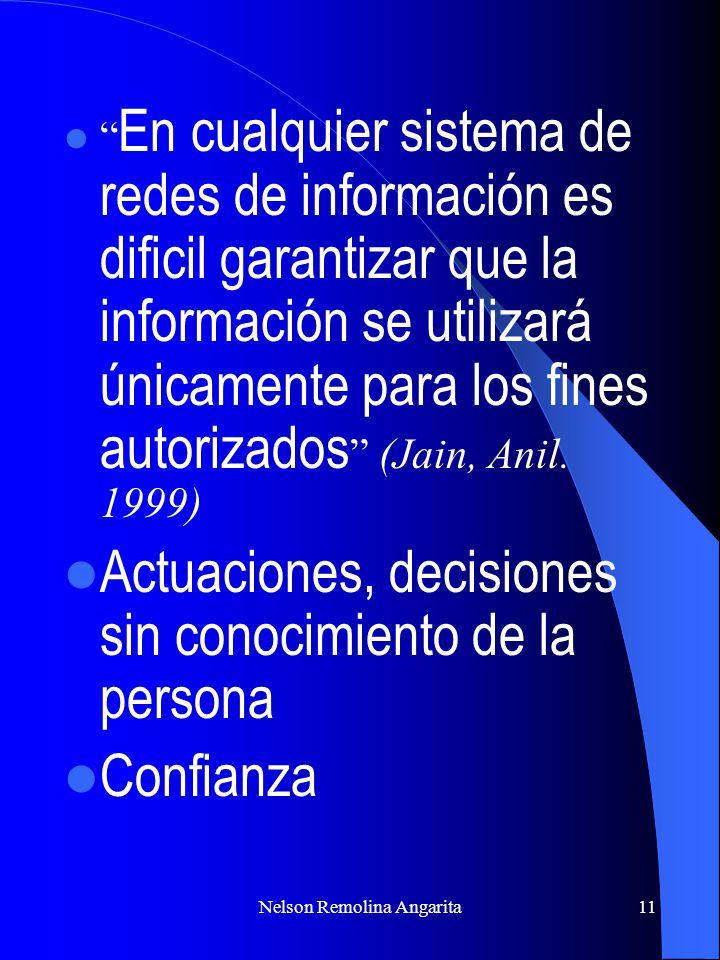 Nelson Remolina Angarita11 En cualquier sistema de redes de información es dificil garantizar que la información se utilizará únicamente para los fine